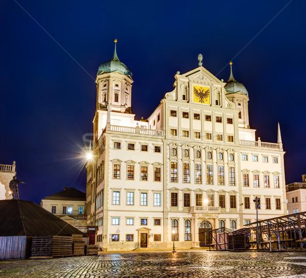 Verlicht stadhuis nacht Duitsland gebouw gebouwen Stockfoto © manfredxy