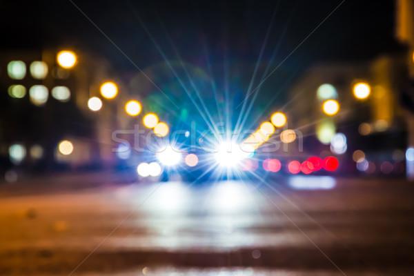 Trafik ışıkları dışarı odak yol soyut gece Stok fotoğraf © manfredxy