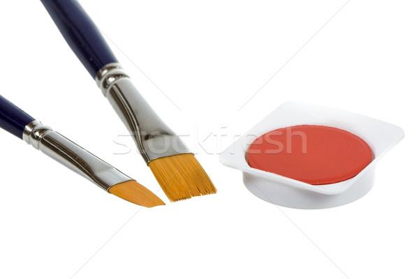 акварель кистью изолированный оранжевый Живопись щетка Сток-фото © manfredxy