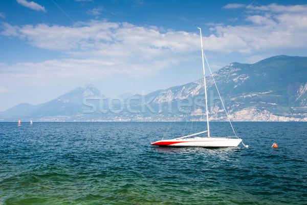 セーリング ボート ガルダ湖 イタリア 水 風景 ストックフォト © manfredxy