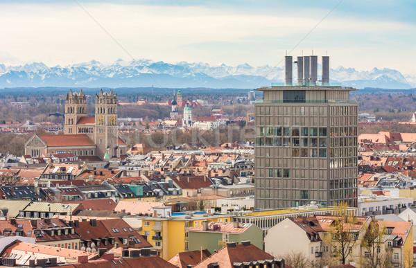 Cidade Munique montanha edifícios montanhas Foto stock © manfredxy