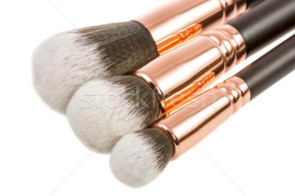 Odizolowany makijaż zestaw piękna szczotki kosmetyki Zdjęcia stock © manfredxy