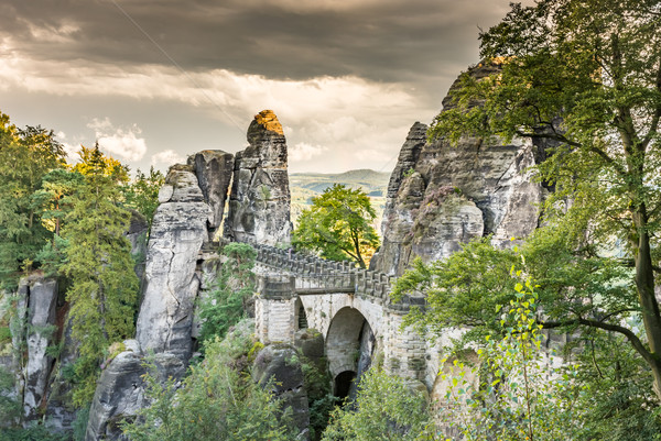 Medieval Bastei Bridge in Saxony Stock photo © manfredxy