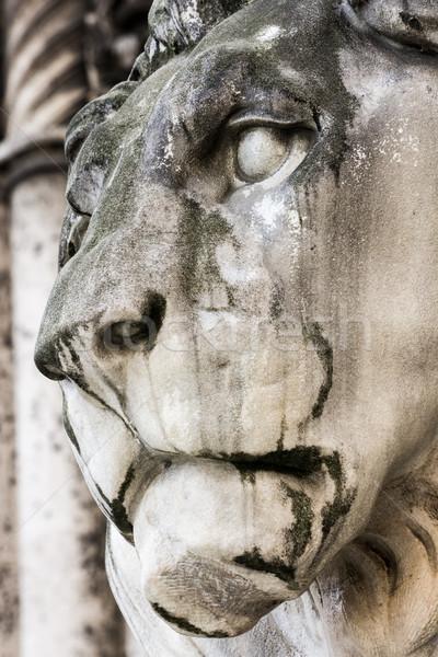 Histórico pedra leão escultura campo ouvir Foto stock © manfredxy