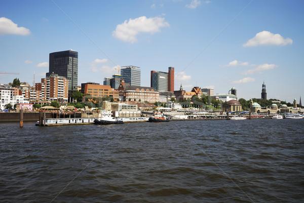 Hamburgo cityscape rio céu edifício cidade Foto stock © manfredxy