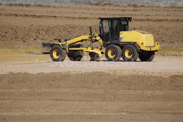 Buldozer galben câmp nisip maşină murdărie Imagine de stoc © manfredxy