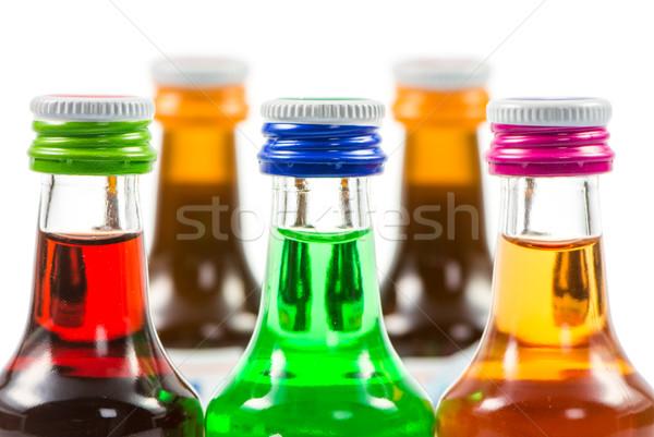 Különböző izolált likőr üvegek buli italok Stock fotó © manfredxy