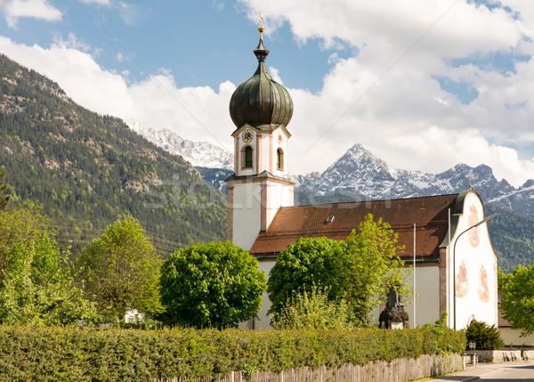 Church in the village Krün in Bavaria Stock photo © manfredxy
