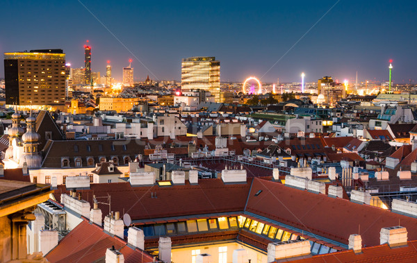 Aerial view over the cityscape of Vienna at night Stock photo © manfredxy