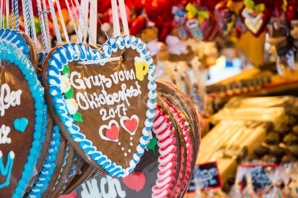 Turta dulce inimă vandut oktoberfest Munchen cadou Imagine de stoc © manfredxy