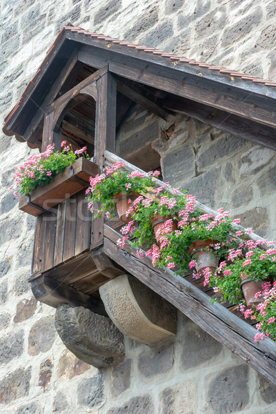 Medieval wooden stairs with flower deco Stock photo © manfredxy