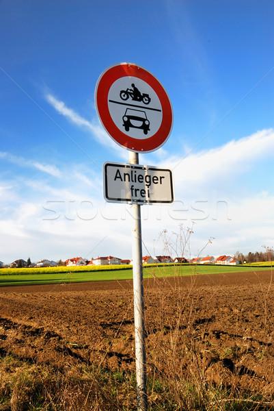 Signo tráfico no motor vehículos cielo Foto stock © manfredxy