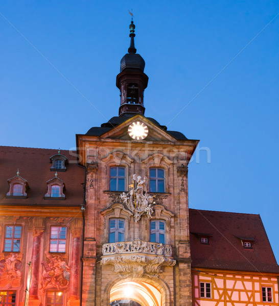 Illuminated historic town hall of Bamberg Stock photo © manfredxy