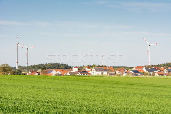 Falu alternatív energia ház szélmalom vidék Stock fotó © manfredxy