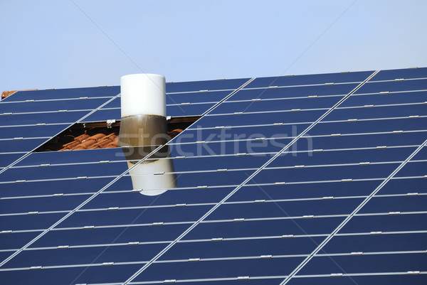 Roof With Solar Collectors Stock photo © manfredxy