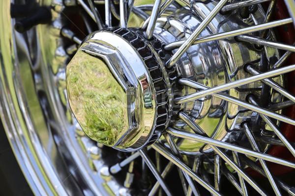 Régi autó kerék öreg időzítő fém retro Stock fotó © manfredxy