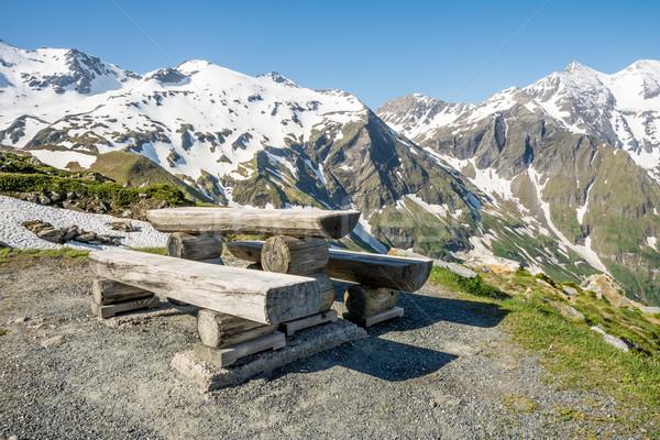 Alpine piknik yüksek yol bahar ahşap Stok fotoğraf © manfredxy