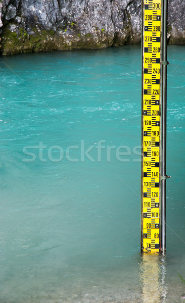 Yellow water level gauge in a river Stock photo © manfredxy