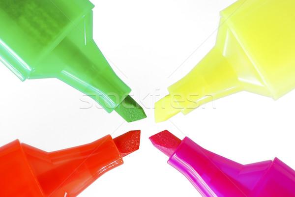 Dört floresan farklı renkler kalem yeşil Stok fotoğraf © manfredxy