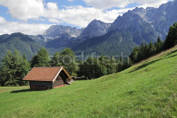 納屋 アルプス山脈 山 草 自然 風景 ストックフォト © manfredxy