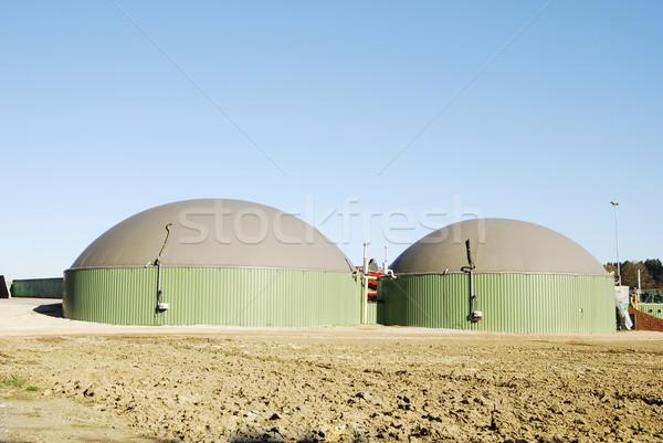 Biogáz gyártás megújuló energia épület kék gyár Stock fotó © manfredxy