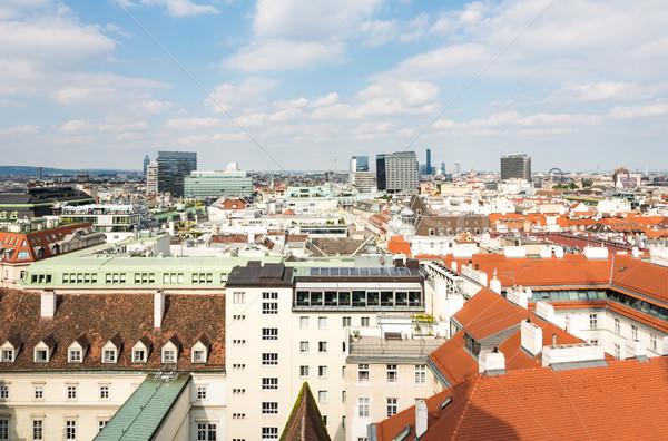 Légifelvétel városkép Bécs Ausztria épületek városi Stock fotó © manfredxy