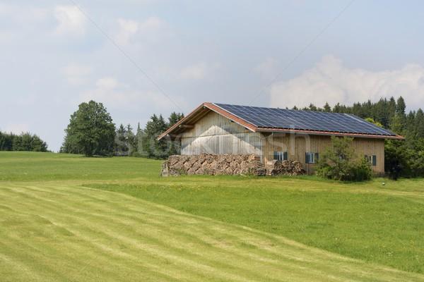 Groene energie alternatief energie schepping boerderij zonnepanelen Stockfoto © manfredxy
