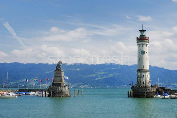 Port See Gebäude Berg Berge Leuchtturm Stock foto © manfredxy