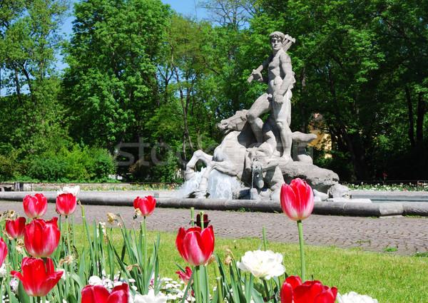 Botanische tuin sculptuur oude München bloemen water Stockfoto © manfredxy