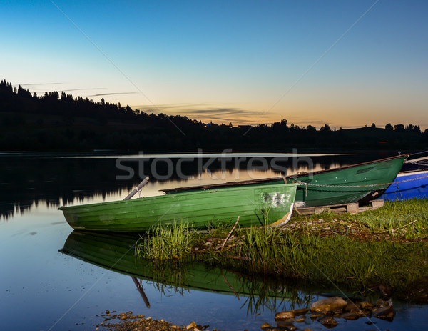 Verlicht meer nacht water zonsondergang landschap Stockfoto © manfredxy