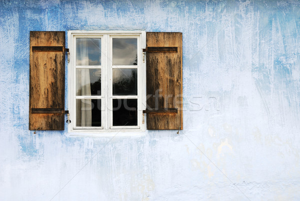 öreg ablak kék fal épület absztrakt Stock fotó © manfredxy