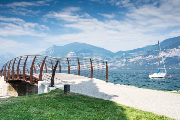 Brücke Gardasee Wasser Vorderseite Italien Landschaft Stock foto © manfredxy