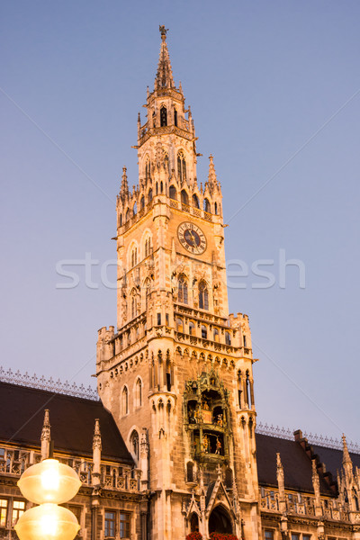 Iluminado ayuntamiento Munich Alemania noche luz Foto stock © manfredxy