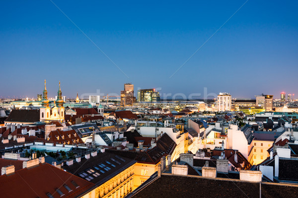 Stock photo: Aerial view over the cityscape of Vienna at night