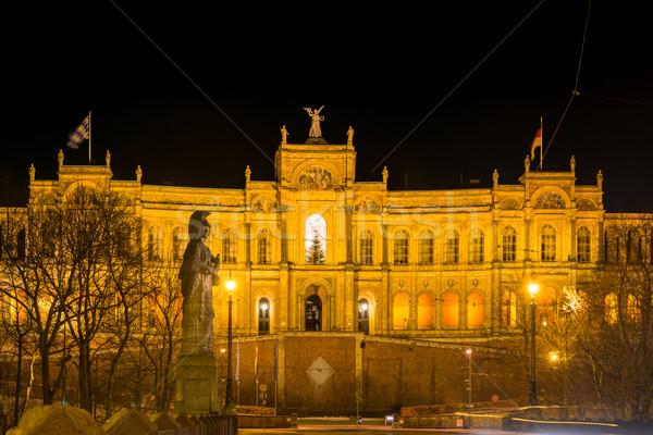 Munich noche viviendas parlamento edificio luz Foto stock © manfredxy