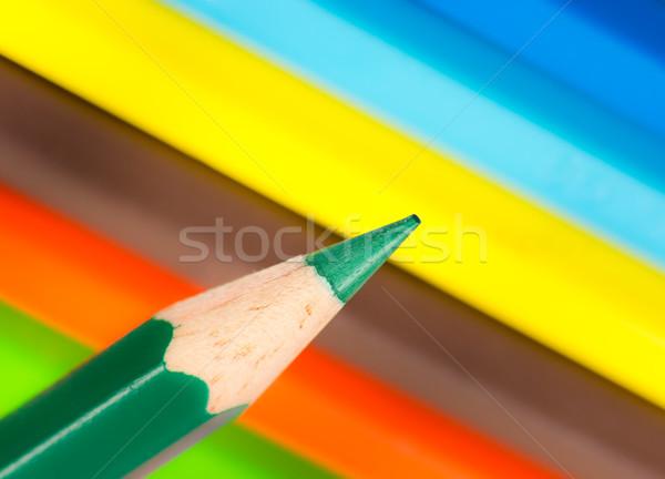 先端 緑 木製 鉛筆 クレヨン ストックフォト © manfredxy