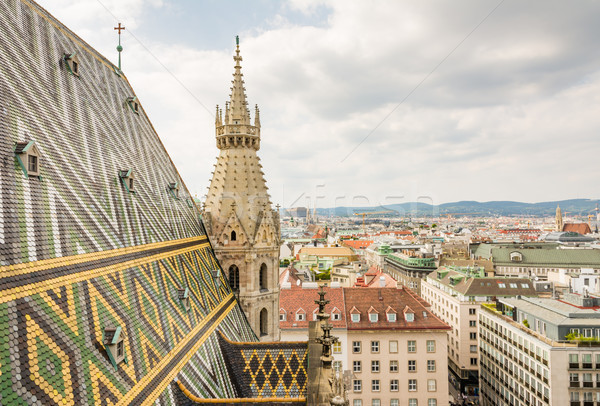 Stephansdom cathedral and aerial view over Vienna Stock photo © manfredxy