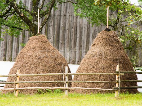 Traditioneel hooiberg oude boerderij landbouw platteland Stockfoto © manfredxy