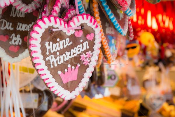 Pan de jengibre corazones vendido oktoberfest Munich alimentos Foto stock © manfredxy