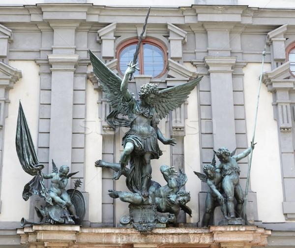 Sculptuur engel architectuur zwaard standbeeld Duitsland Stockfoto © manfredxy
