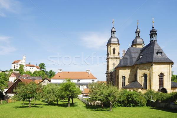 Bazylika drzew zamek religii katedry średniowiecznej Zdjęcia stock © manfredxy