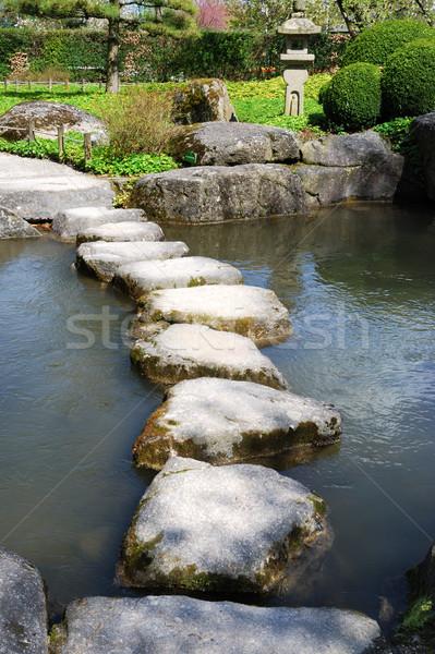 Kő út japán víz kert béke Stock fotó © manfredxy