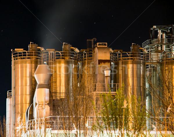 Illuminated Chemical Plant at night Stock photo © manfredxy