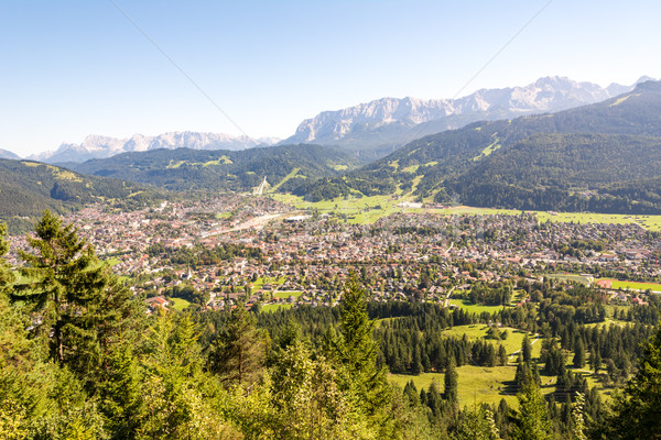 Aerial view over Garmisch in the alps of Bavaria Stock photo © manfredxy