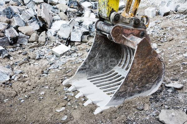 Graafmachine schop bouwplaats lege steen industriële Stockfoto © manfredxy