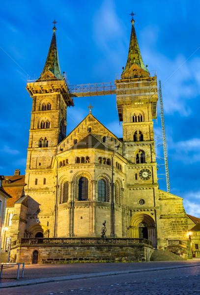 Illuminated cathedral of Bamberg Stock photo © manfredxy