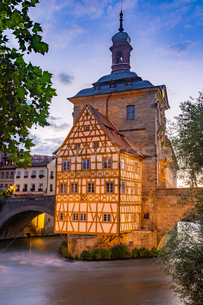 Illuminated historic town hall of Bamberg Stock photo © manfredxy