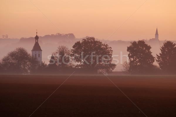 Reggel köd ősz tájkép napfelkelte erdő Stock fotó © manfredxy