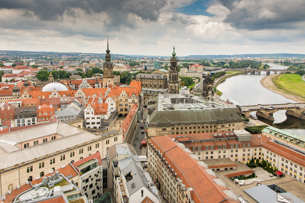 Aerial view over the city of Dresden Stock photo © manfredxy