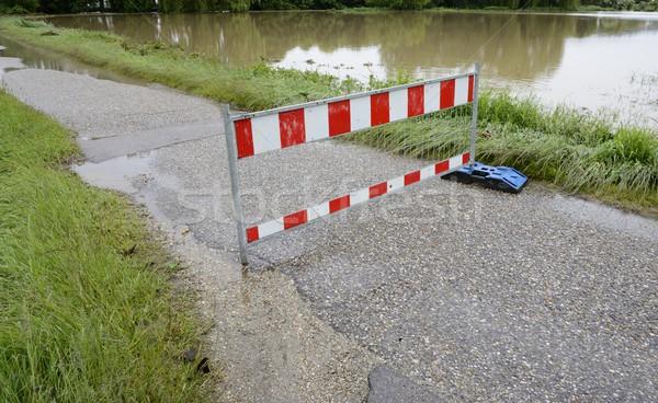 Hochwasser schwierig Regen Straße Landschaft Fluss Stock foto © manfredxy